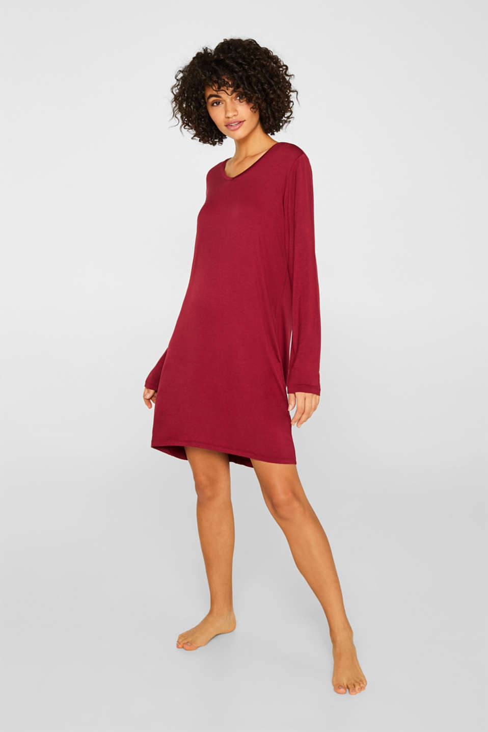 Jersey nightshirt with lace, DARK RED, detail image number 0