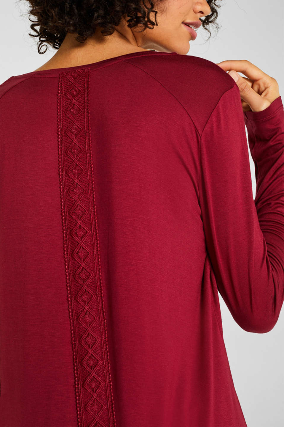 Jersey nightshirt with lace, DARK RED, detail image number 3
