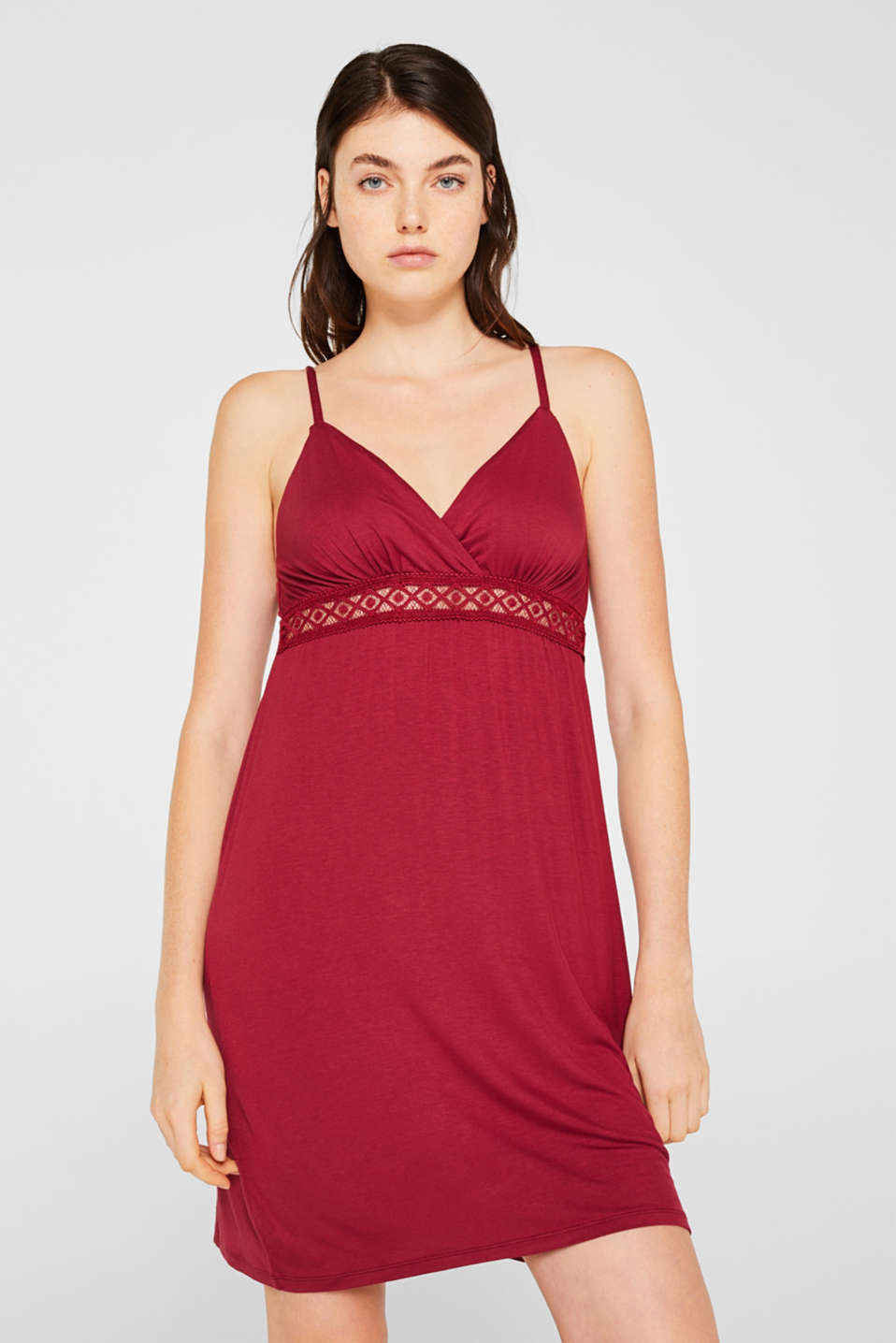 Lace-trimmed stretch jersey chemise, DARK RED, detail image number 0