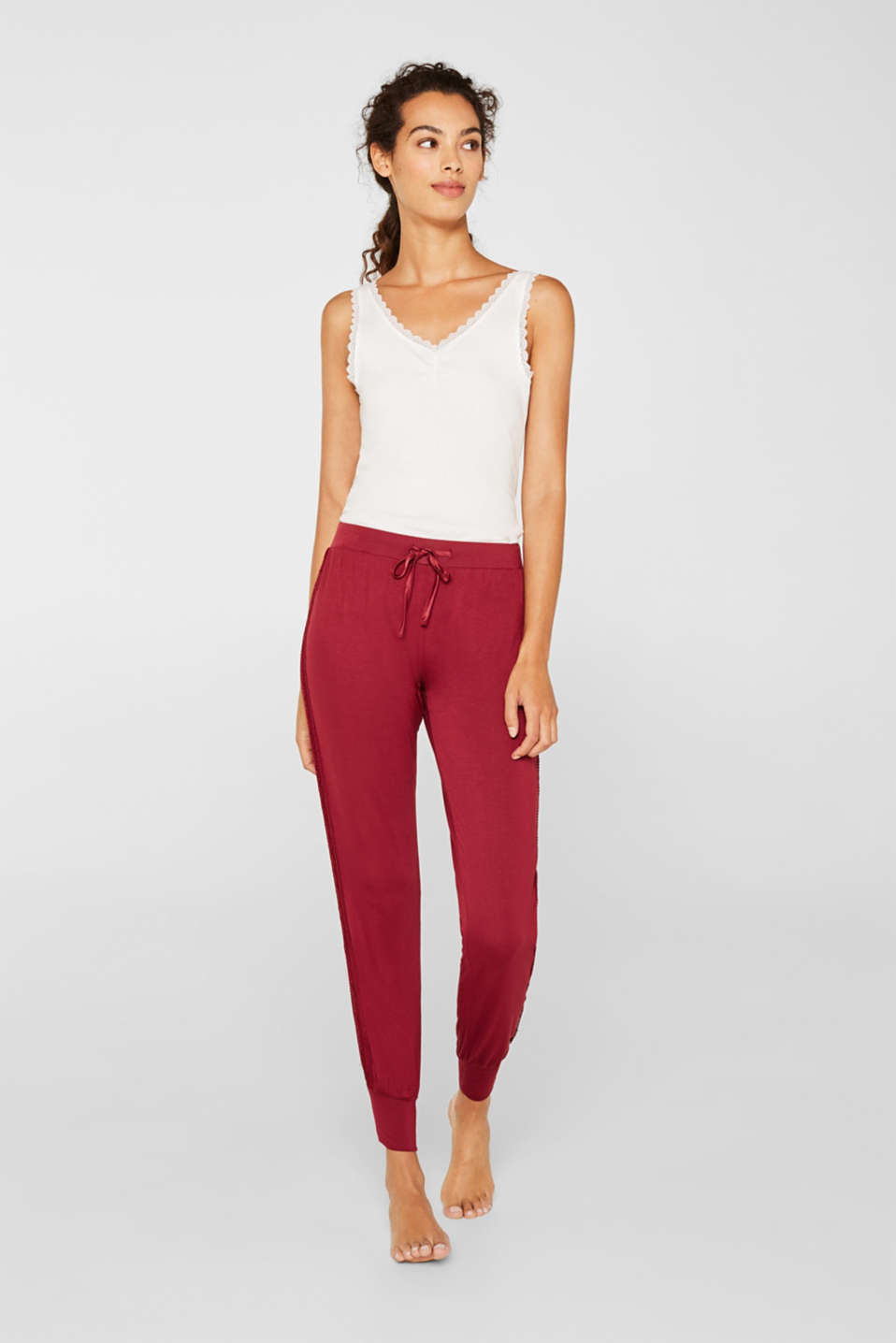 Esprit - Stretch jersey trousers with lace