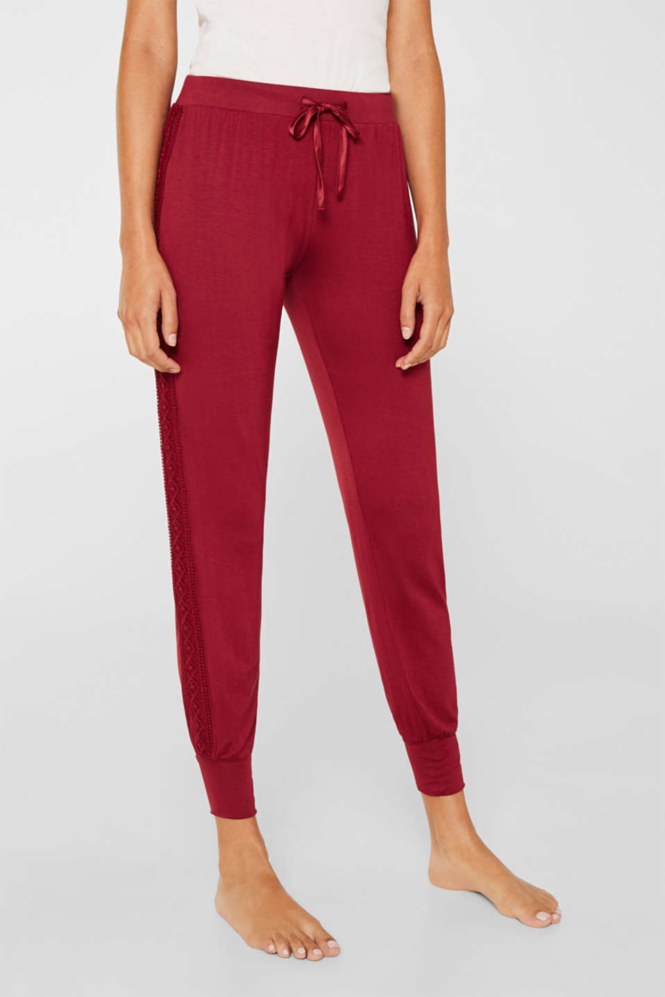 Stretch jersey trousers with lace, DARK RED, detail image number 5