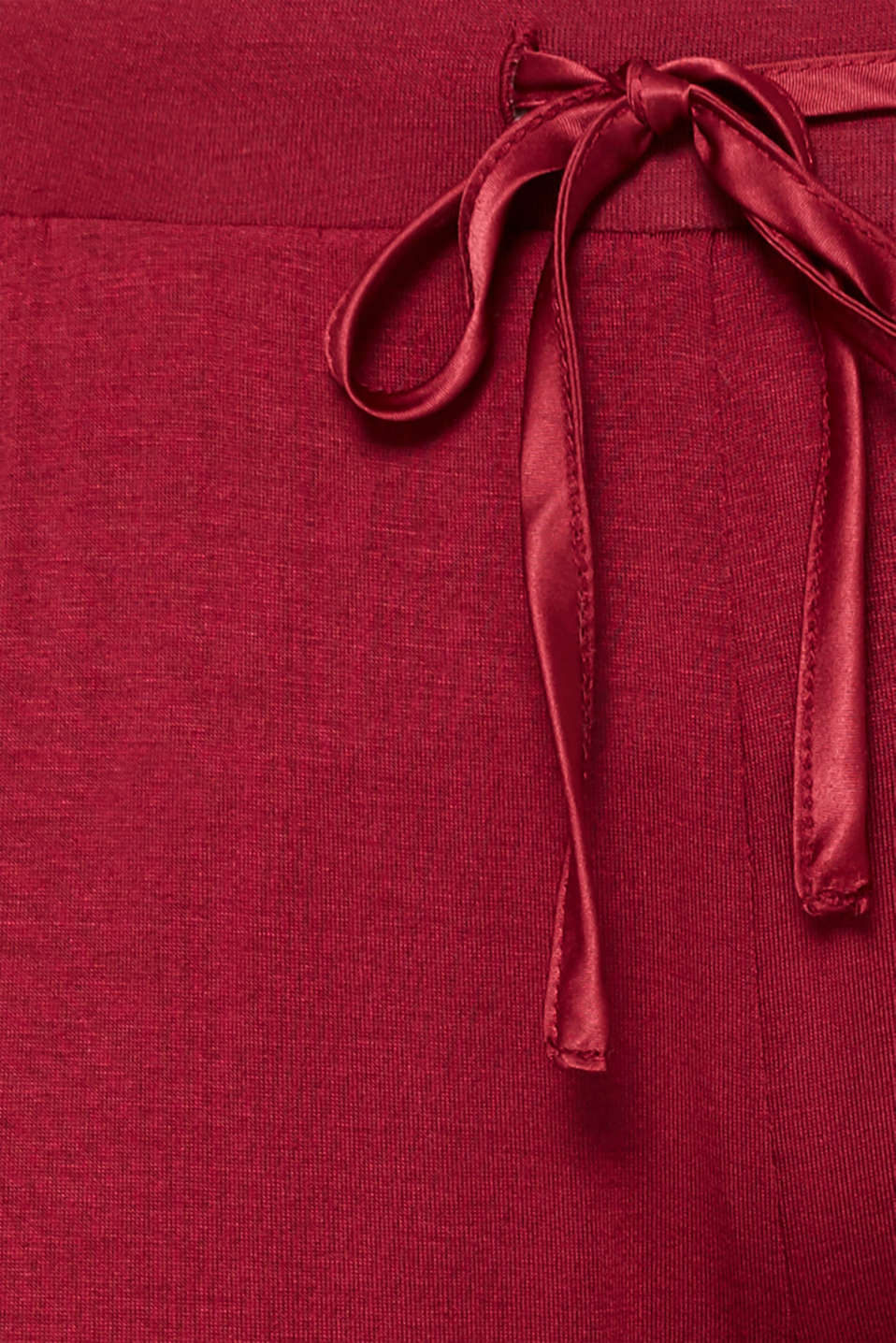 Stretch jersey trousers with lace, DARK RED, detail image number 4