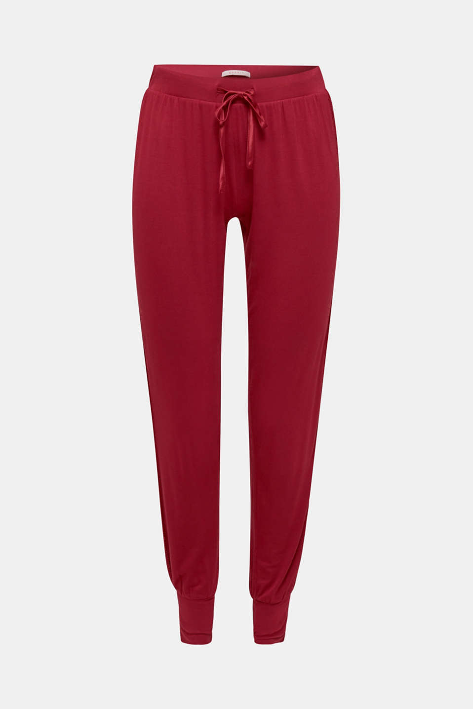 Stretch jersey trousers with lace, DARK RED, detail image number 6