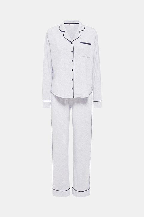 Jersey pyjamas with satin piping