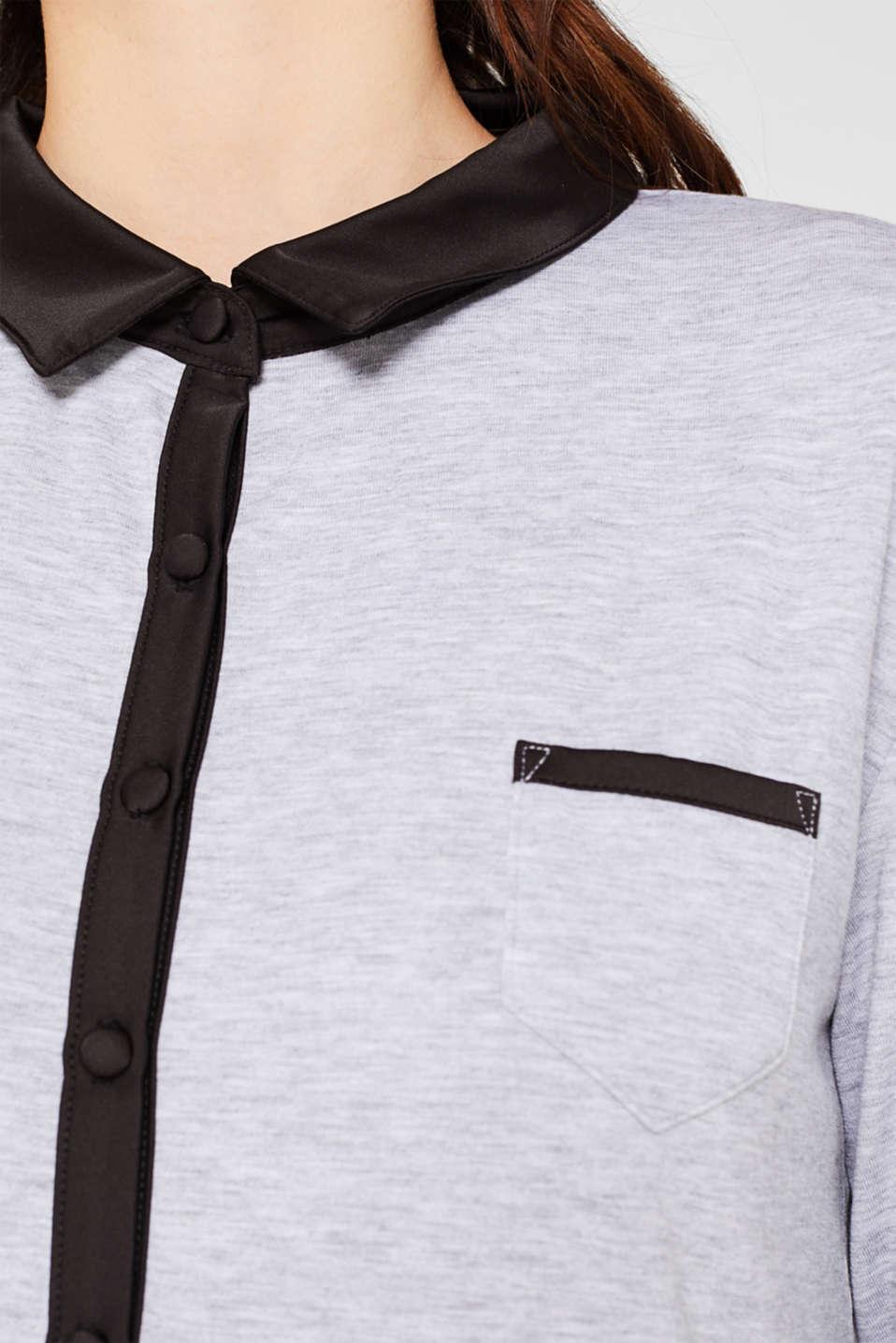 Melange jersey nightshirt with a satin collar, MEDIUM GREY, detail image number 2
