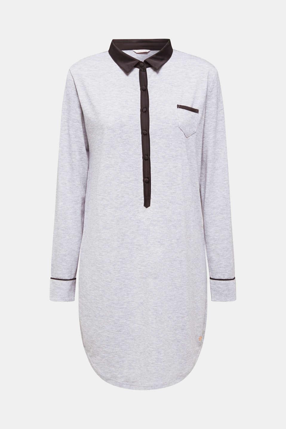 Melange jersey nightshirt with a satin collar, MEDIUM GREY, detail image number 4