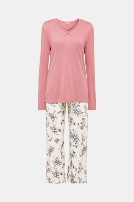 Jersey and fabric pyjamas, PASTEL GREY, detail