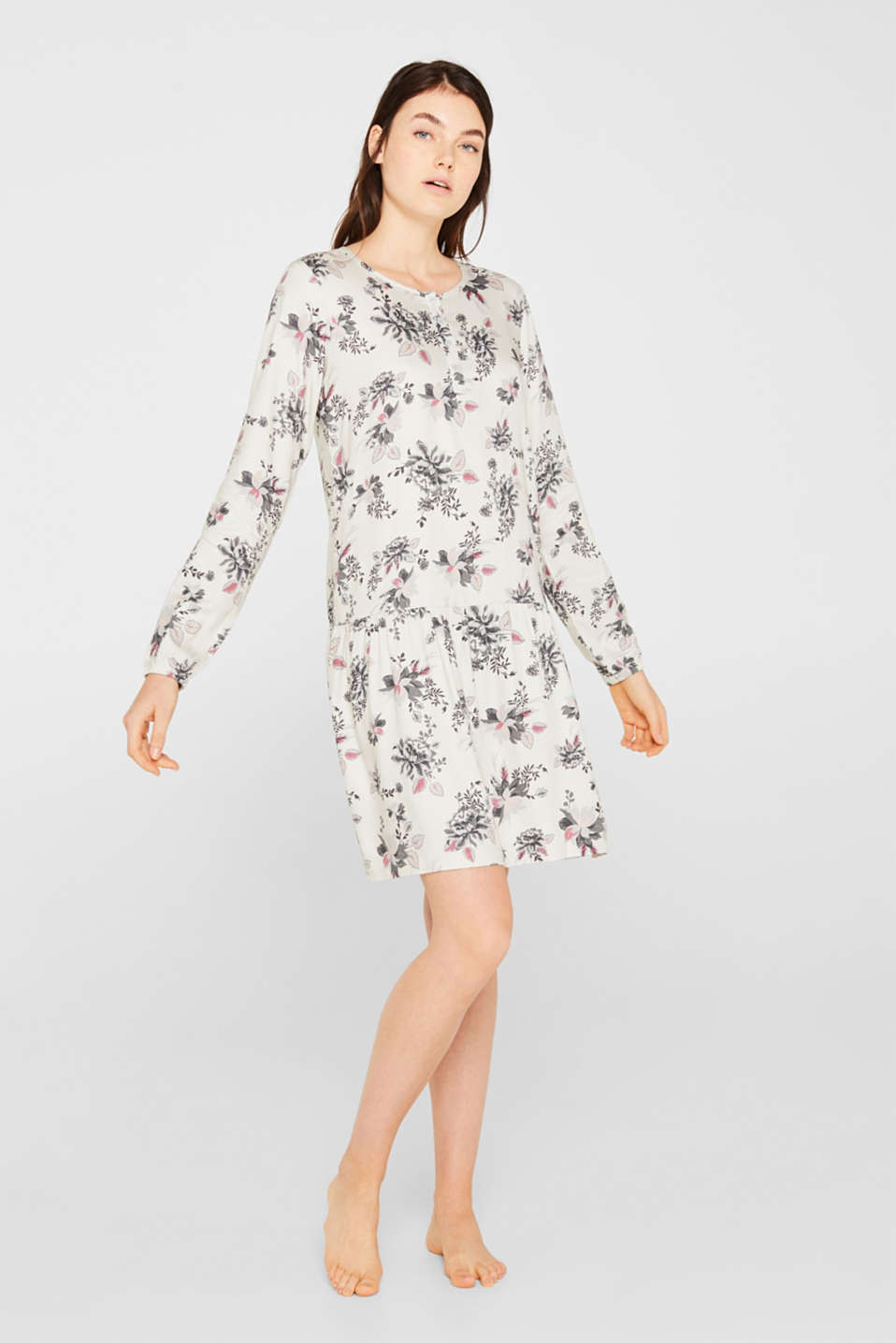 Esprit - Woven nightshirt with a swirling skirt