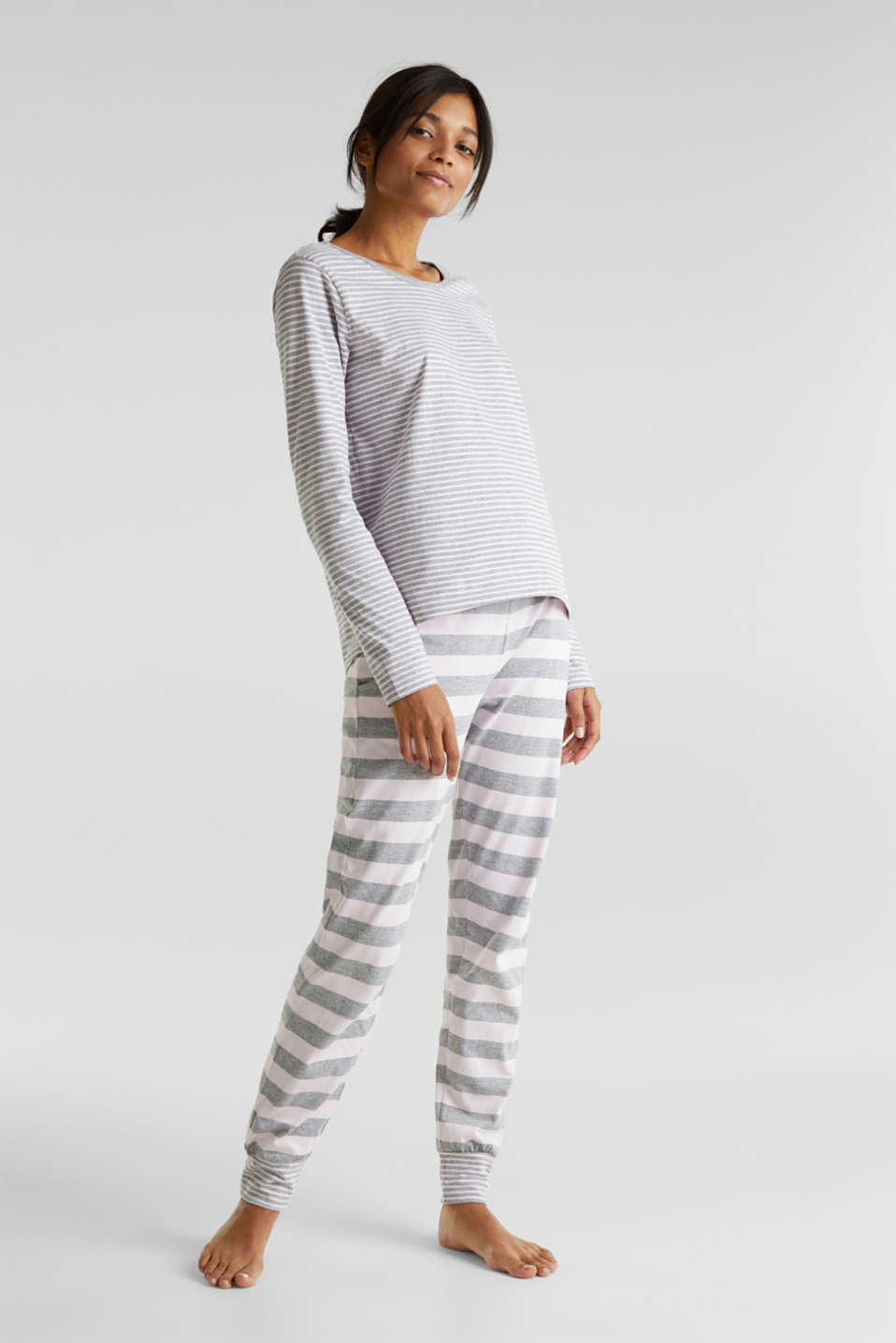 Pyjamas in a striped look, PASTEL PINK, detail