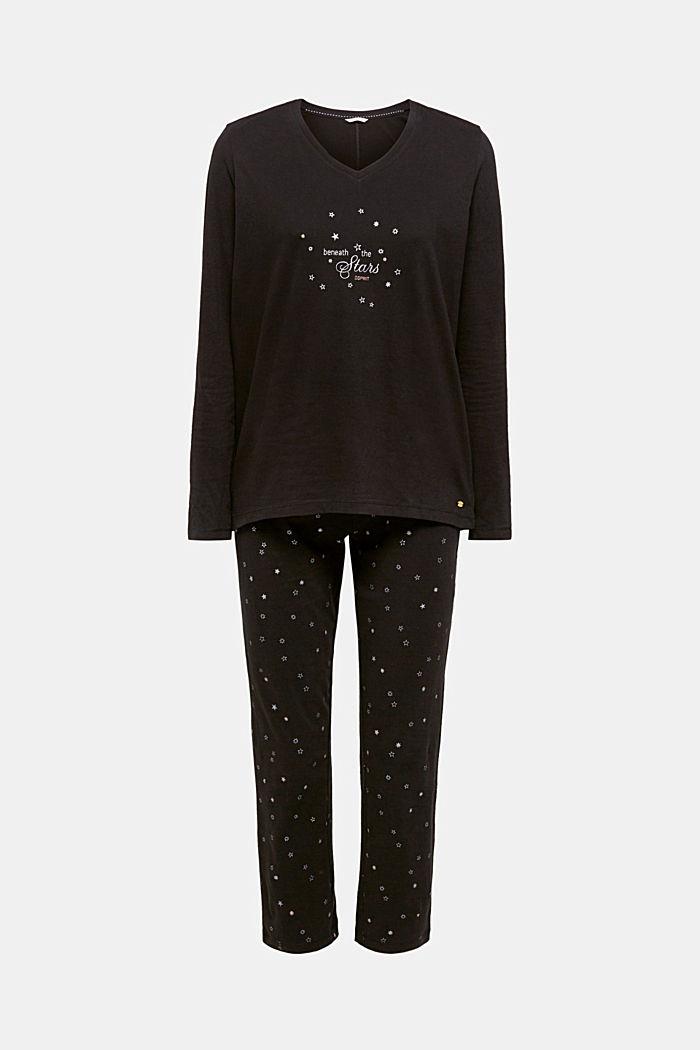 SET: jersey pyjama met wollige sokken, BLACK, detail image number 0
