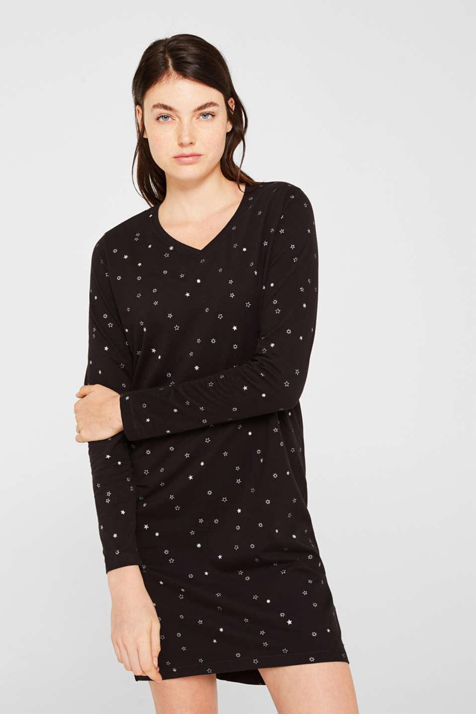 Print nightshirt made of 100% cotton, BLACK, detail image number 0