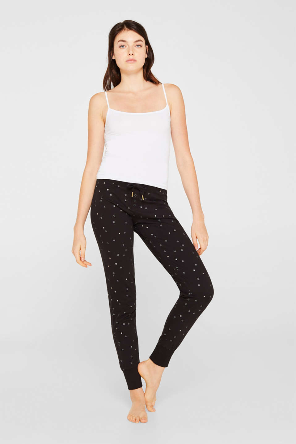 Jersey bottoms with a glitter print, BLACK, detail image number 0