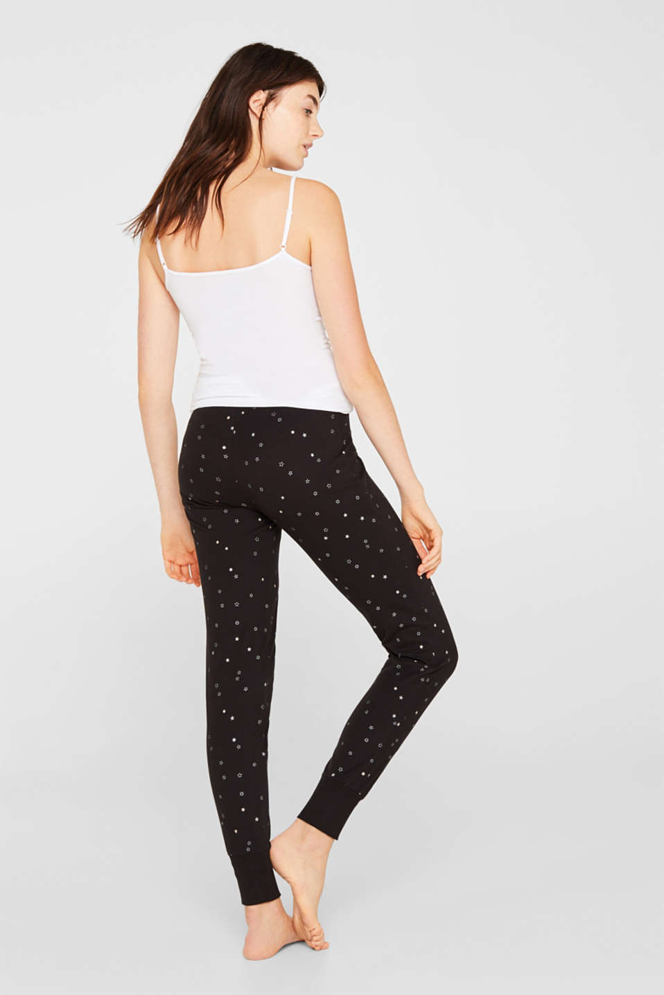 Jersey bottoms with a glitter print, BLACK, detail image number 2