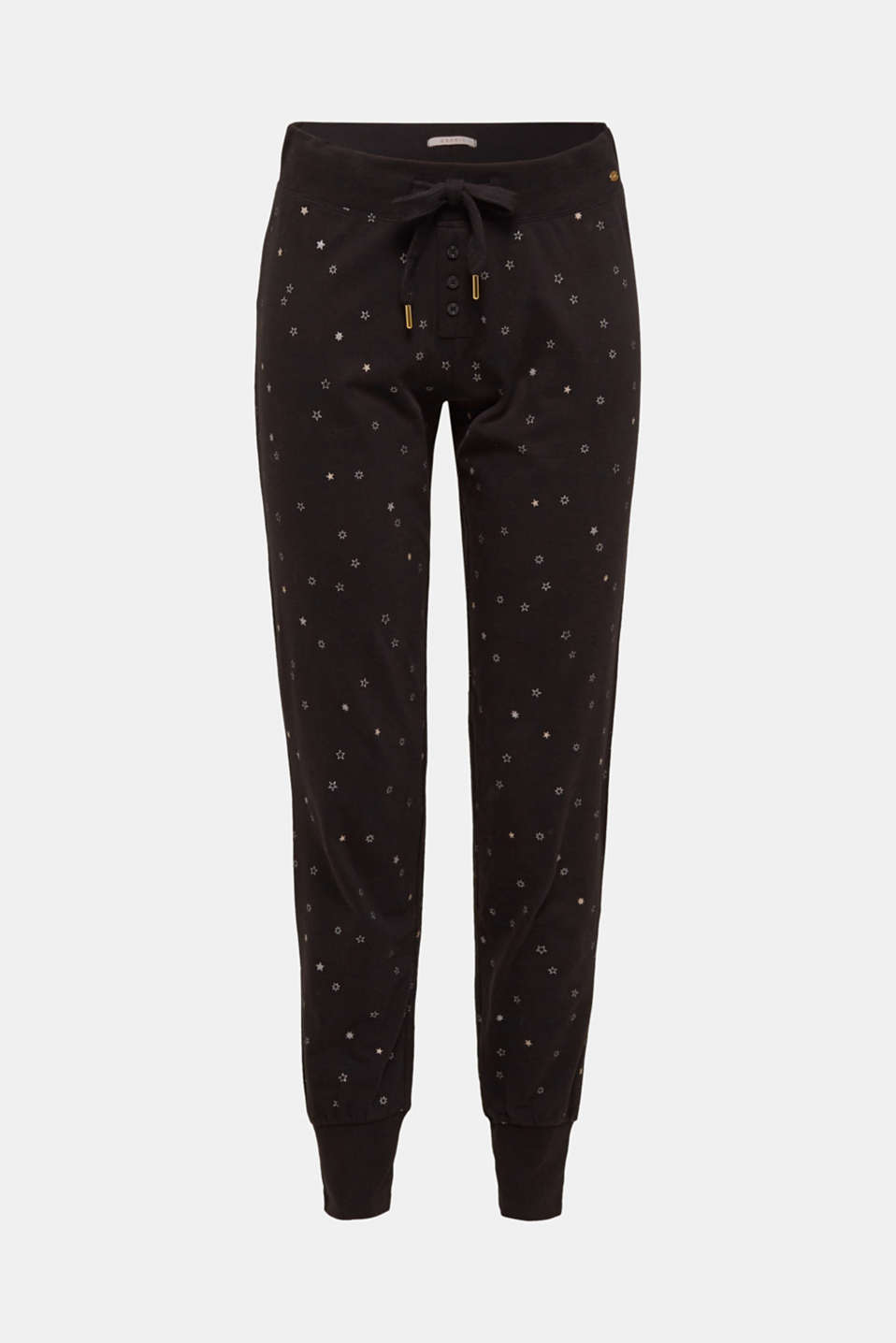 Jersey bottoms with a glitter print, BLACK, detail image number 3
