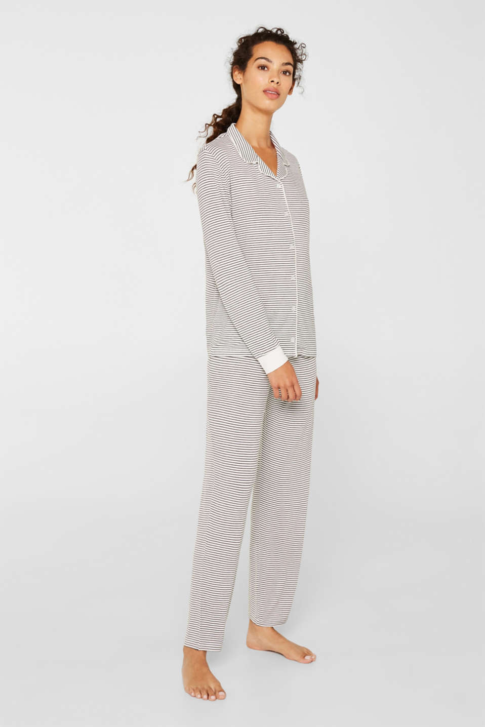 Stretch jersey pyjamas with stripes