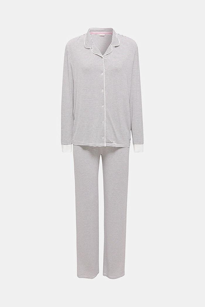 Pyjama van elastische jersey met strepen, MEDIUM GREY, detail image number 0