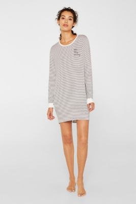 Stretch jersey nightshirt with stripes, MEDIUM GREY, detail