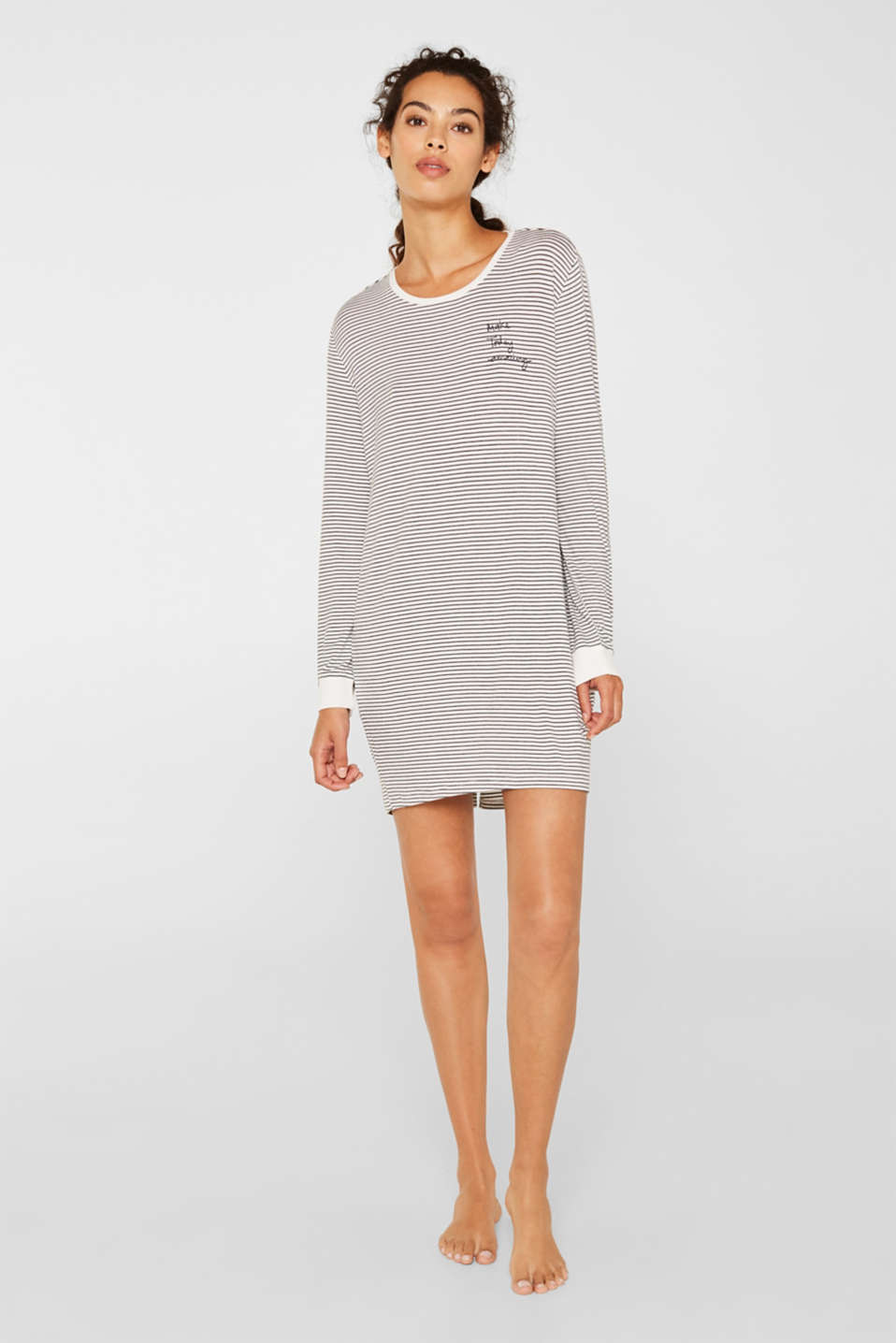 Stretch jersey nightshirt with stripes, MEDIUM GREY, detail image number 0