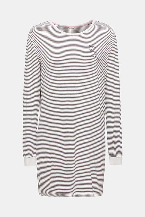 Stretch jersey nightshirt with stripes