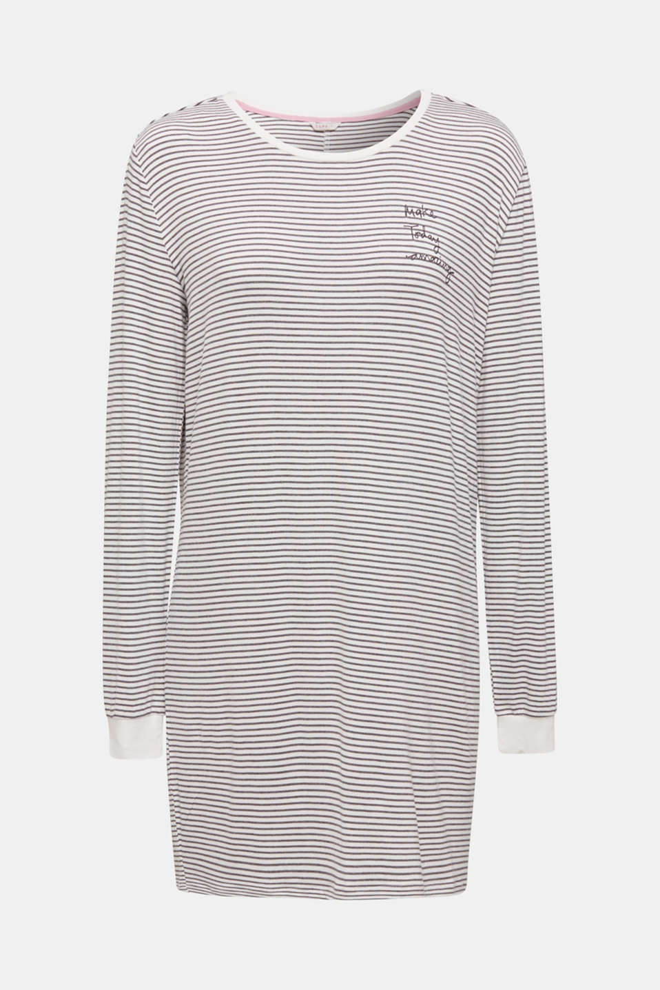 Stretch jersey nightshirt with stripes, MEDIUM GREY, detail image number 5