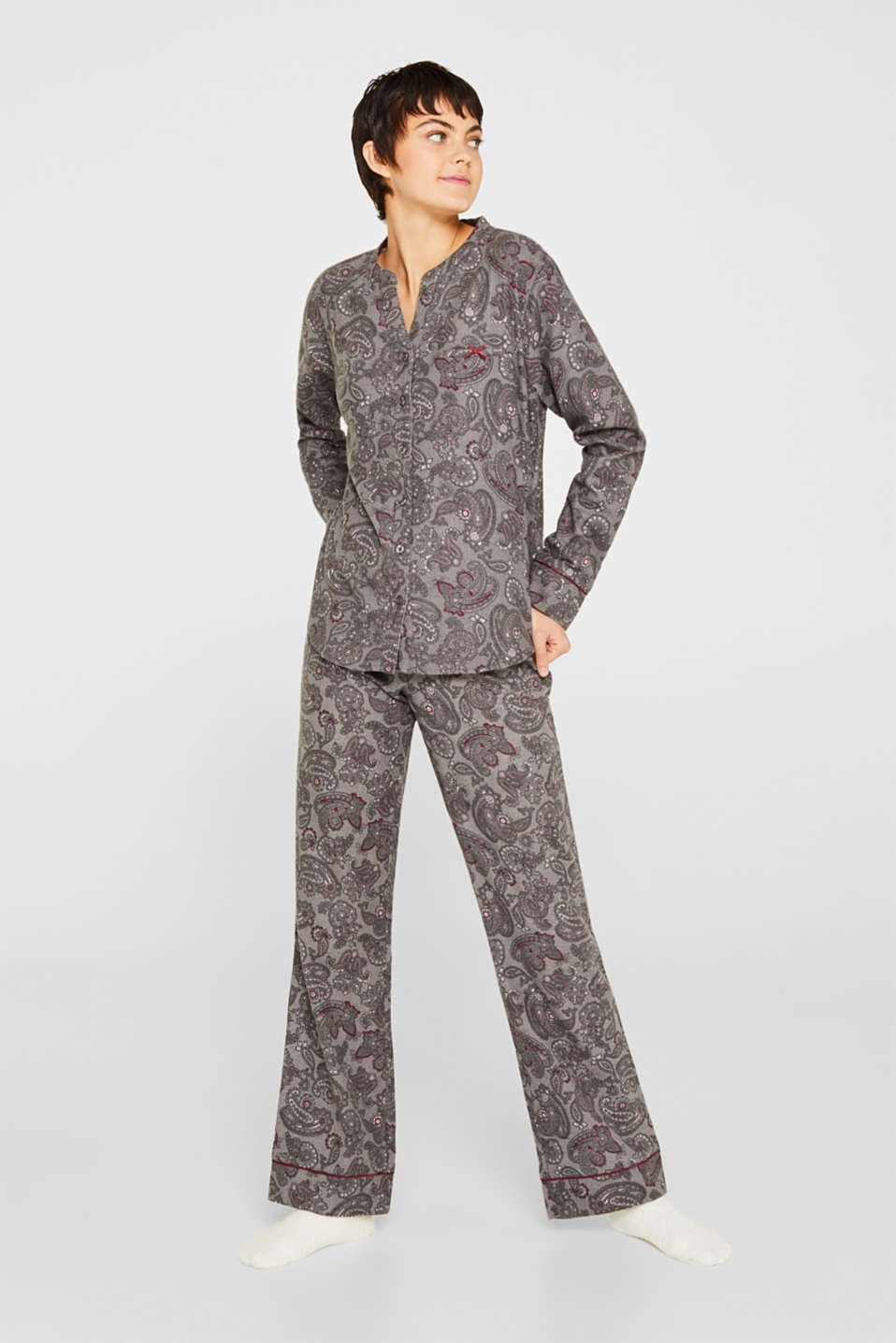 Esprit - Flannel pyjamas with socks, 100% cotton