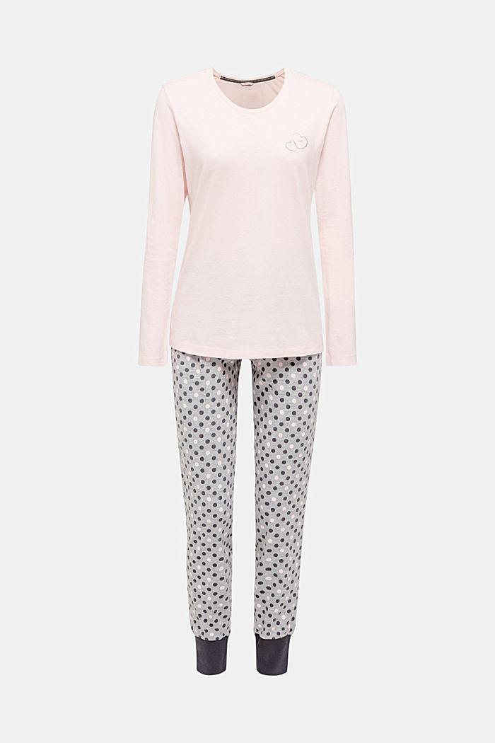 Jersey-Pyjama mit Tupfen, 100% Baumwolle, MEDIUM GREY, detail image number 0