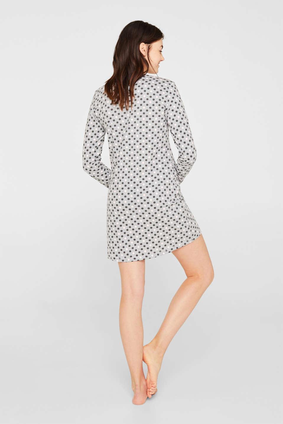 Jersey nightdress with polka dot print, MEDIUM GREY, detail image number 1