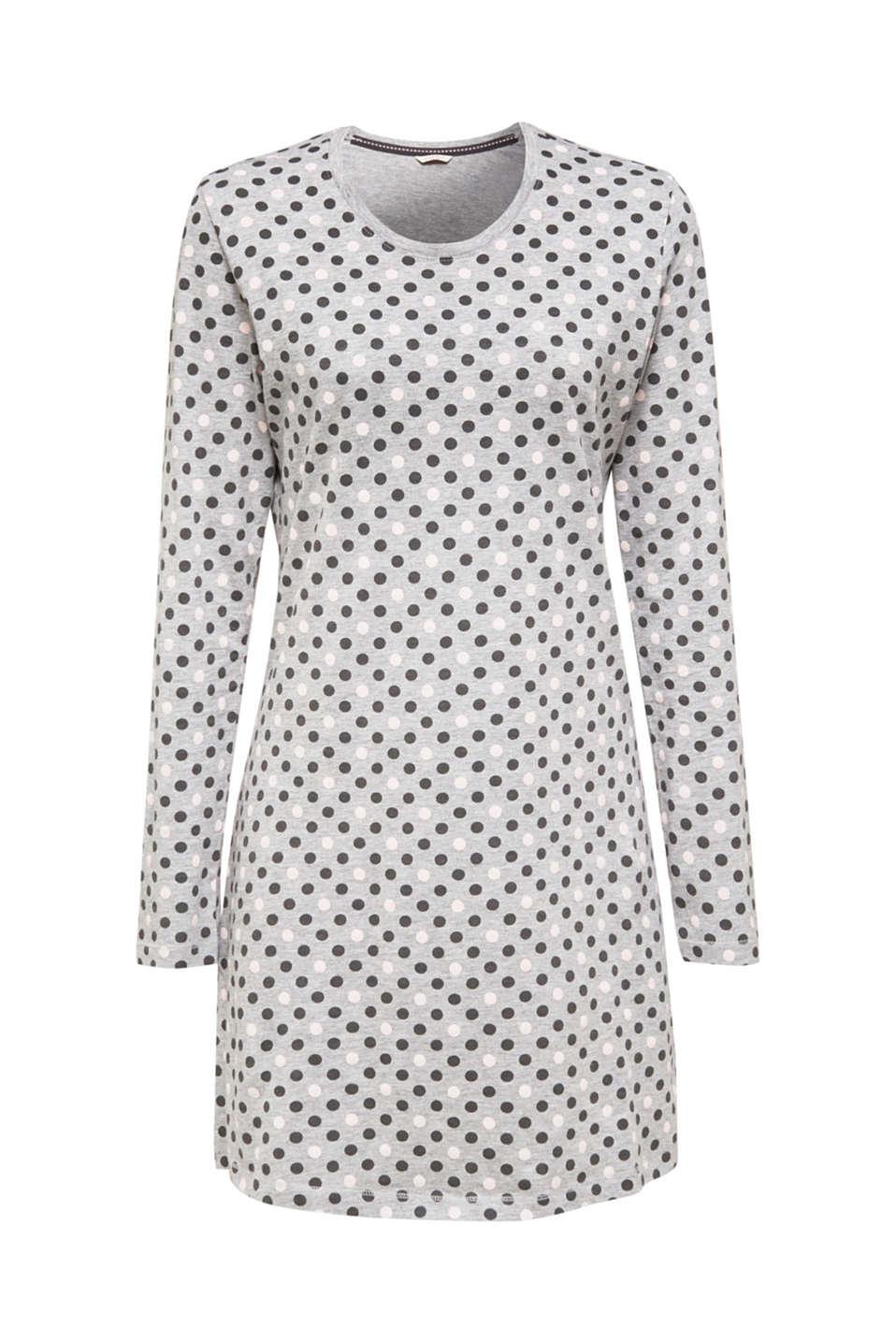 Jersey nightdress with polka dot print, MEDIUM GREY, detail image number 3