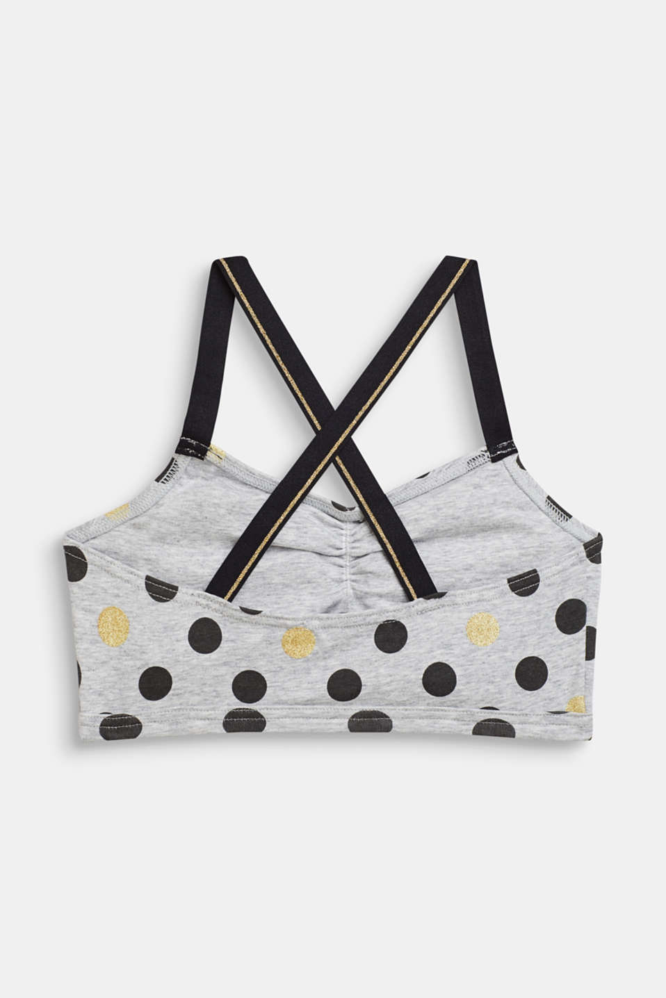 Padded bodice top with a polka dot print, MEDIUM GREY, detail image number 1