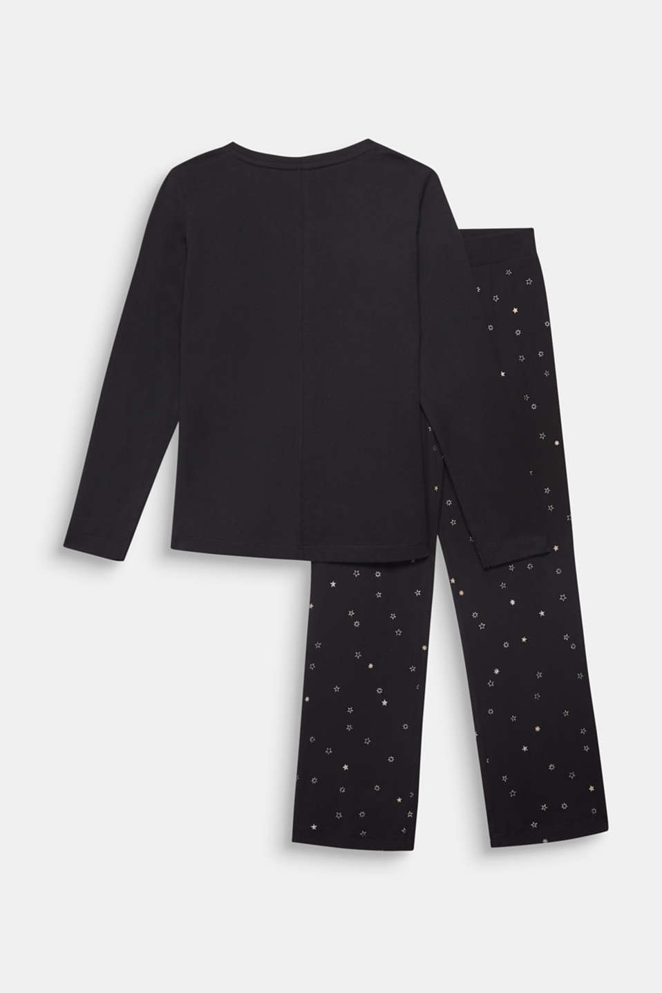 Glitter print pyjamas, 100% cotton, BLACK, detail image number 1