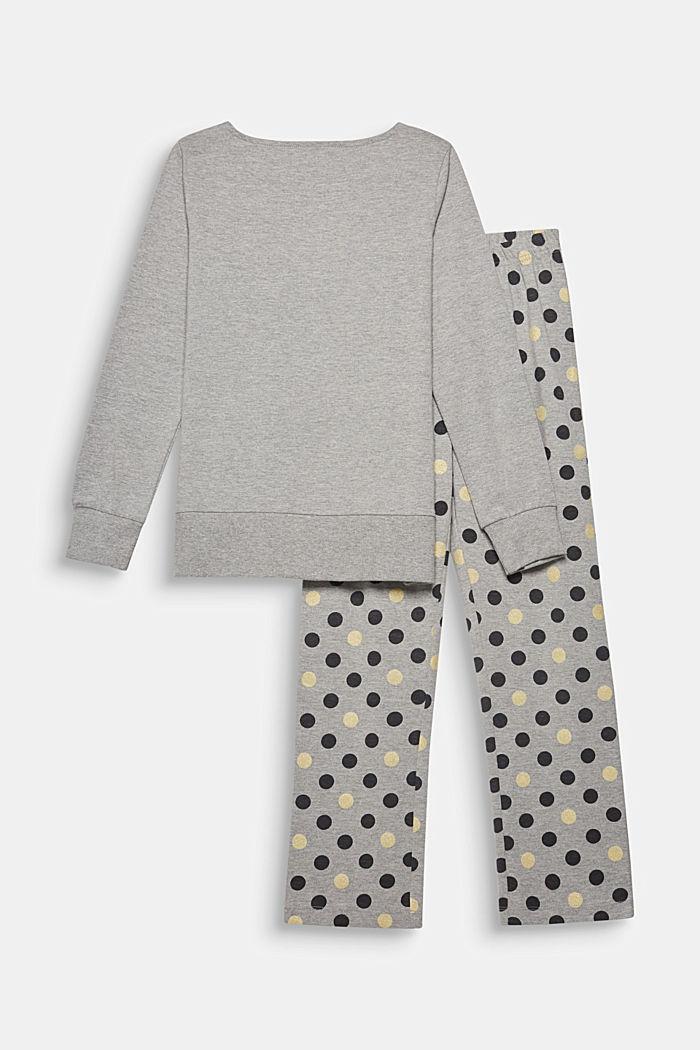 Gemêleerde jersey pyjama met stippenprint, MEDIUM GREY, detail image number 1