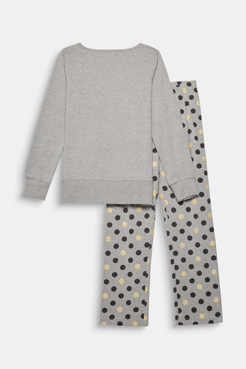 Melange jersey pyjamas with a polka dot print, MEDIUM GREY, detail image number 1