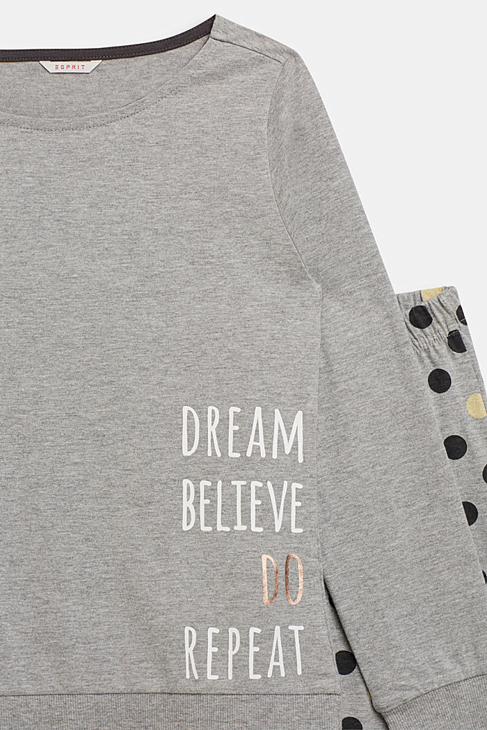 Gemêleerde jersey pyjama met stippenprint, MEDIUM GREY, detail image number 2