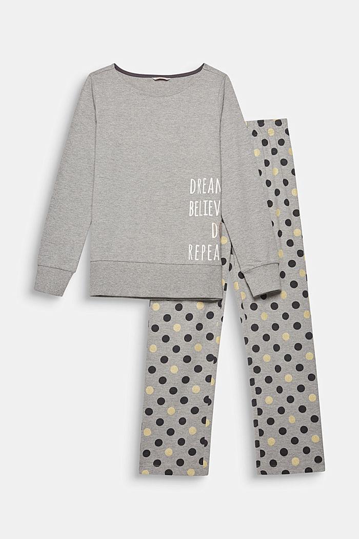 Gemêleerde jersey pyjama met stippenprint, MEDIUM GREY, detail image number 0