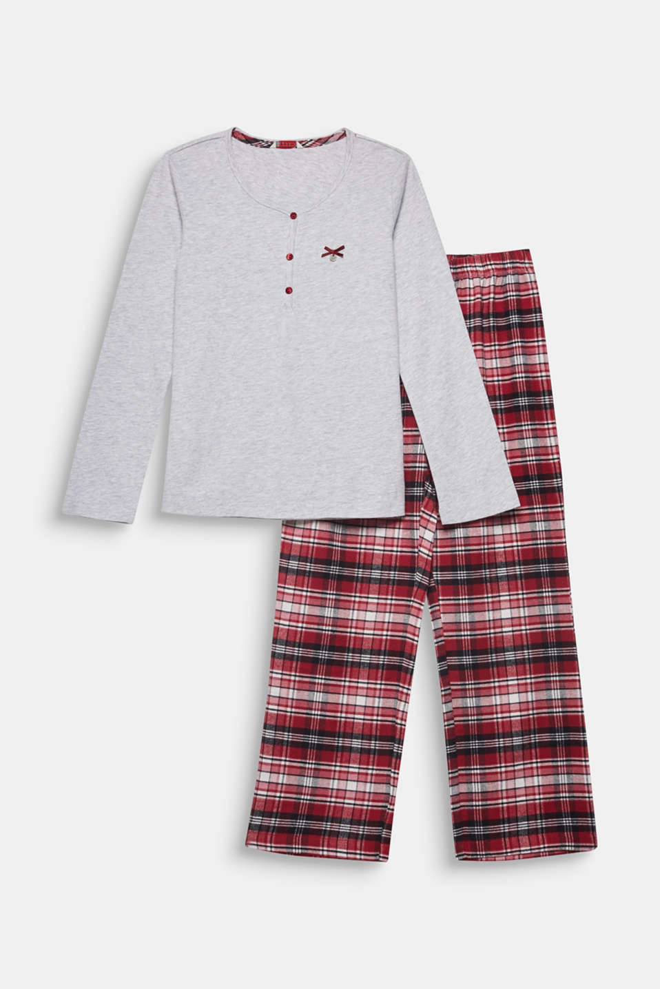 Soft flannel pyjamas made of 100% cotton, DARK RED, detail image number 0