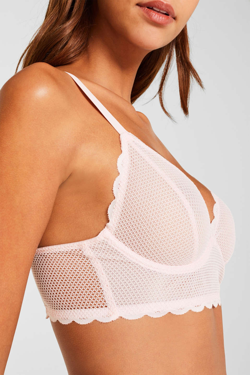 Unpadded underwire bodice in a mesh look, PASTEL PINK, detail image number 2