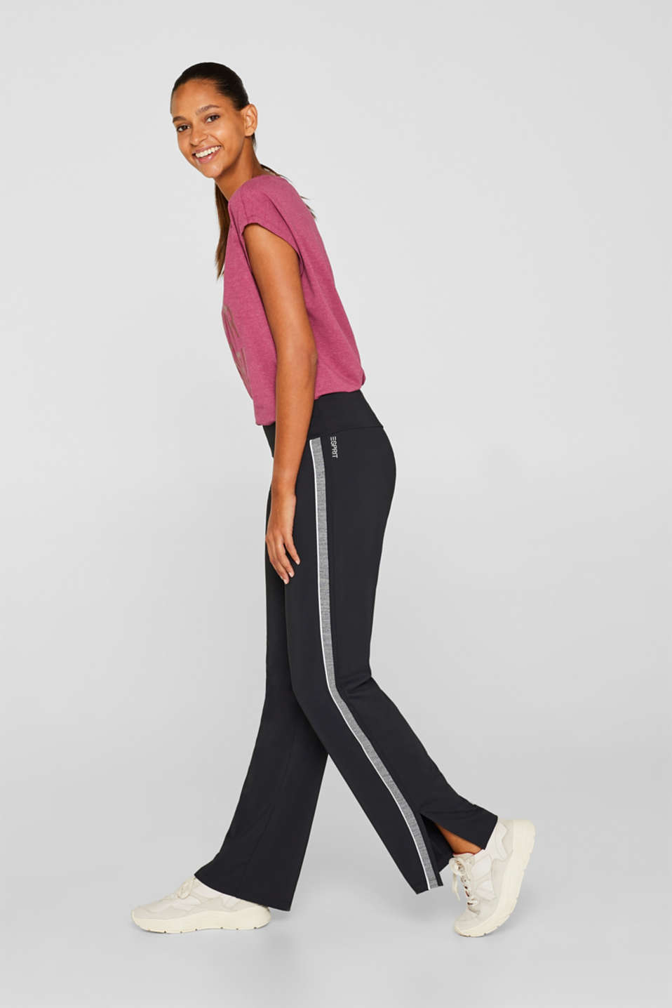 Active tracksuit bottoms with racing stripes, E-DRY