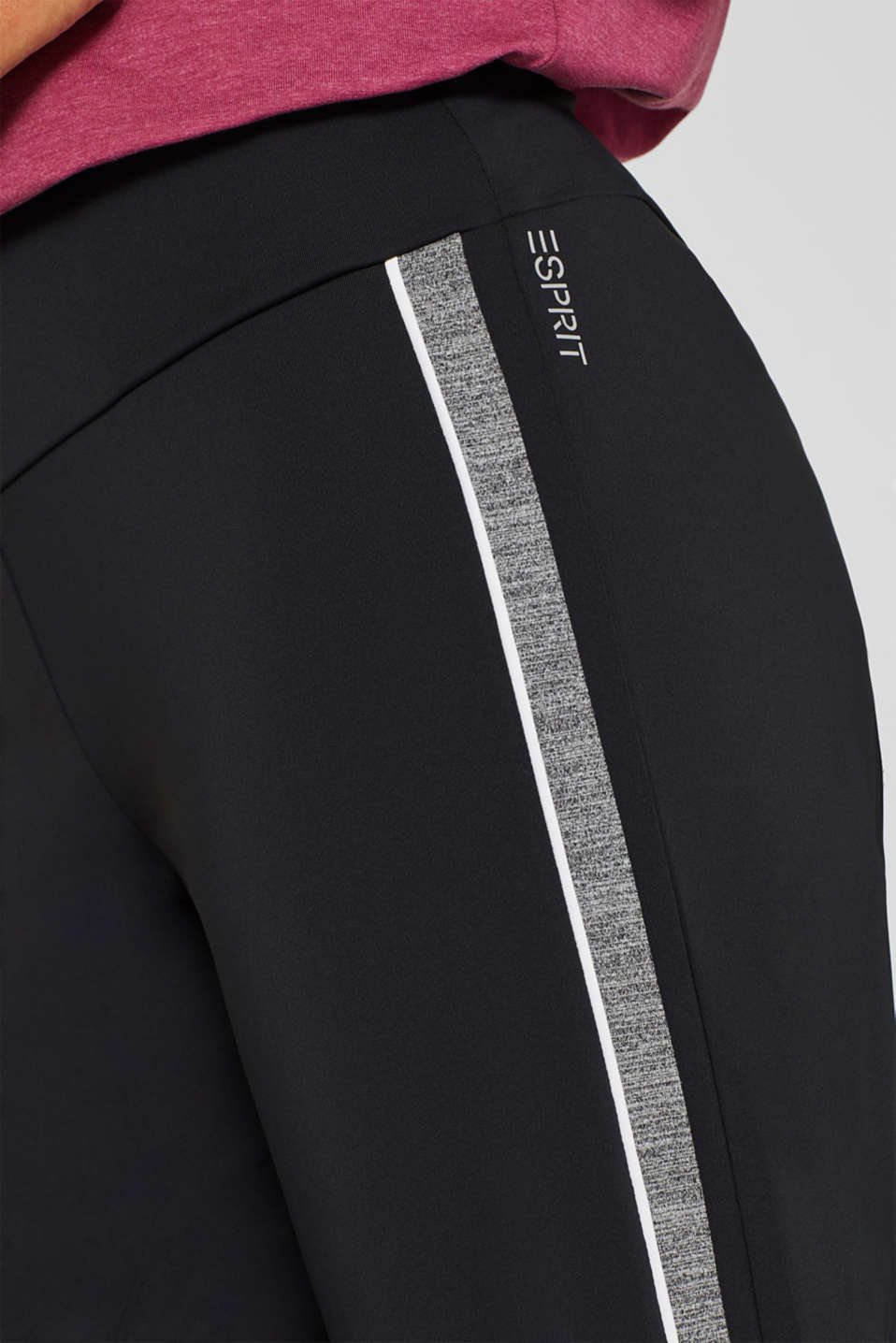 Active tracksuit bottoms with racing stripes, E-DRY, BLACK, detail image number 1