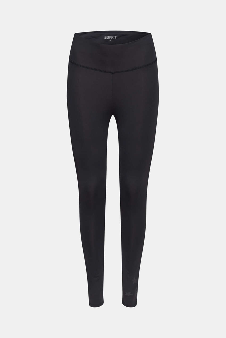 Active leggings with a star print, E-DRY, BLACK, detail image number 5