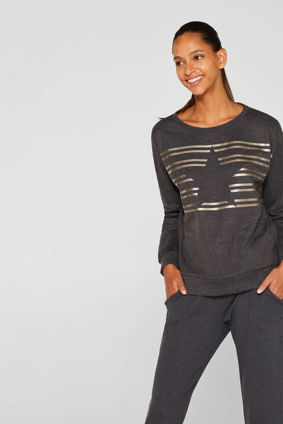 Esprit - Sweatshirt with a shiny print and stretch