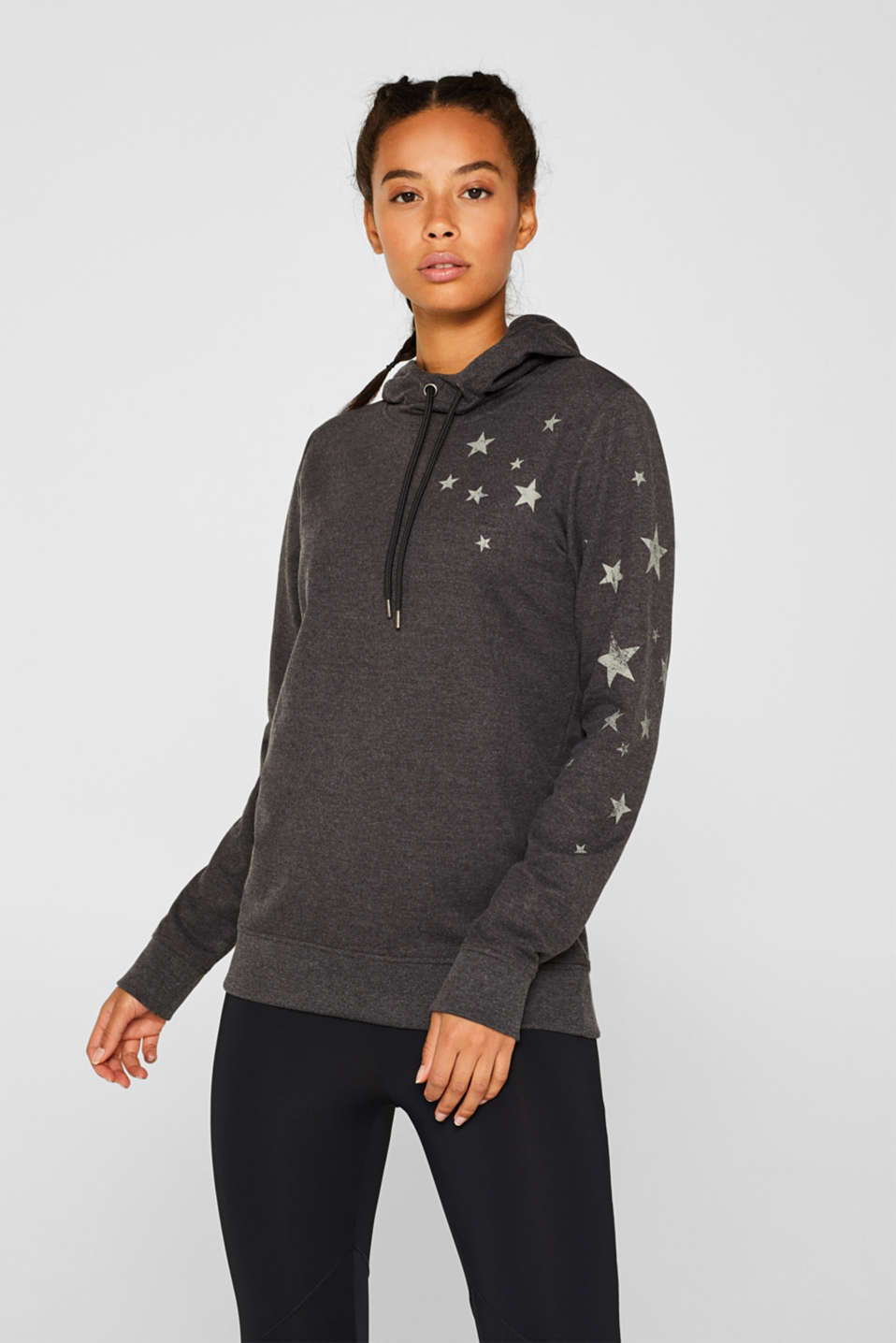 Hoodie with star print, ANTHRACITE 2, detail image number 0