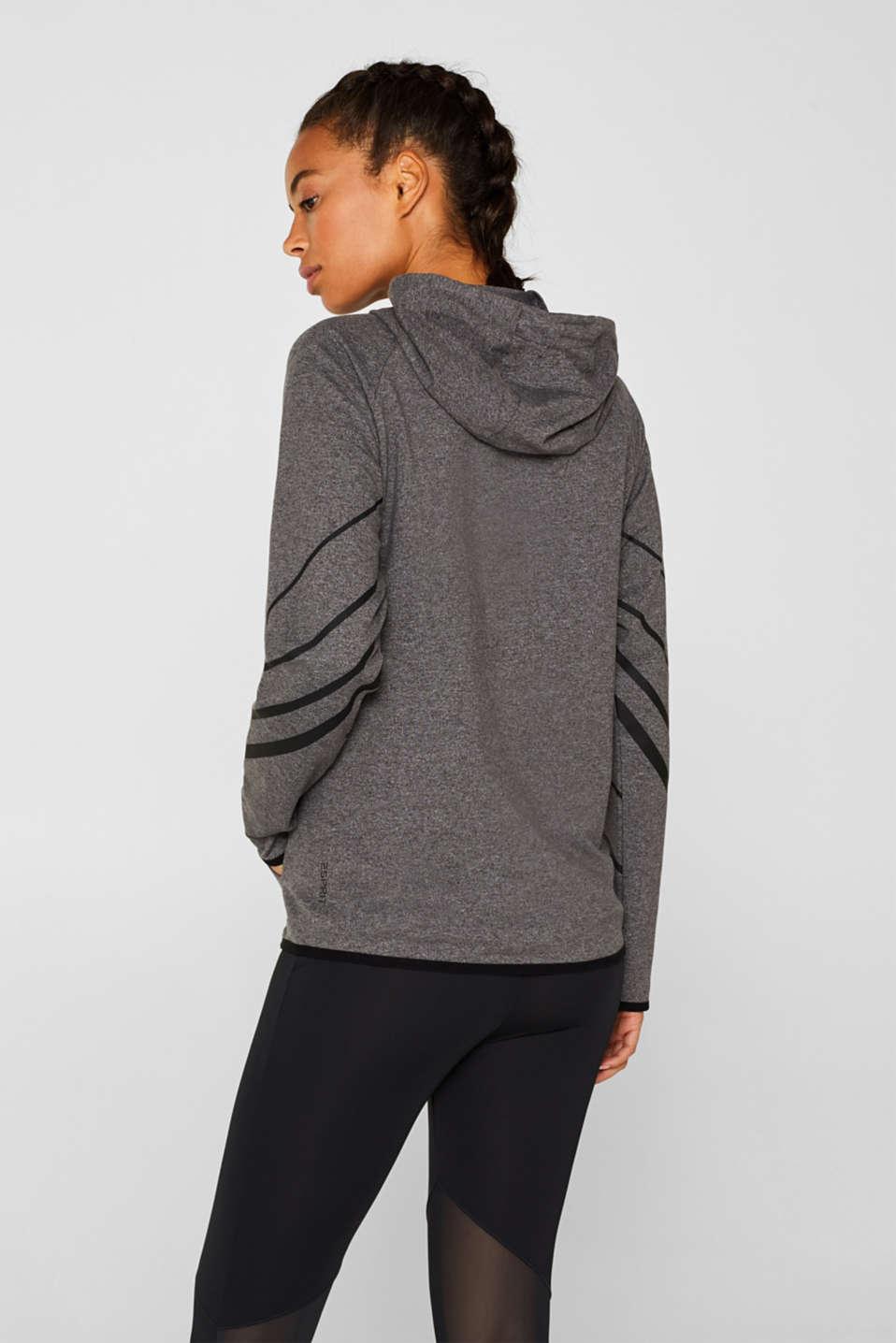 Hooded sweatshirt cardigan, ANTHRACITE 2, detail image number 2