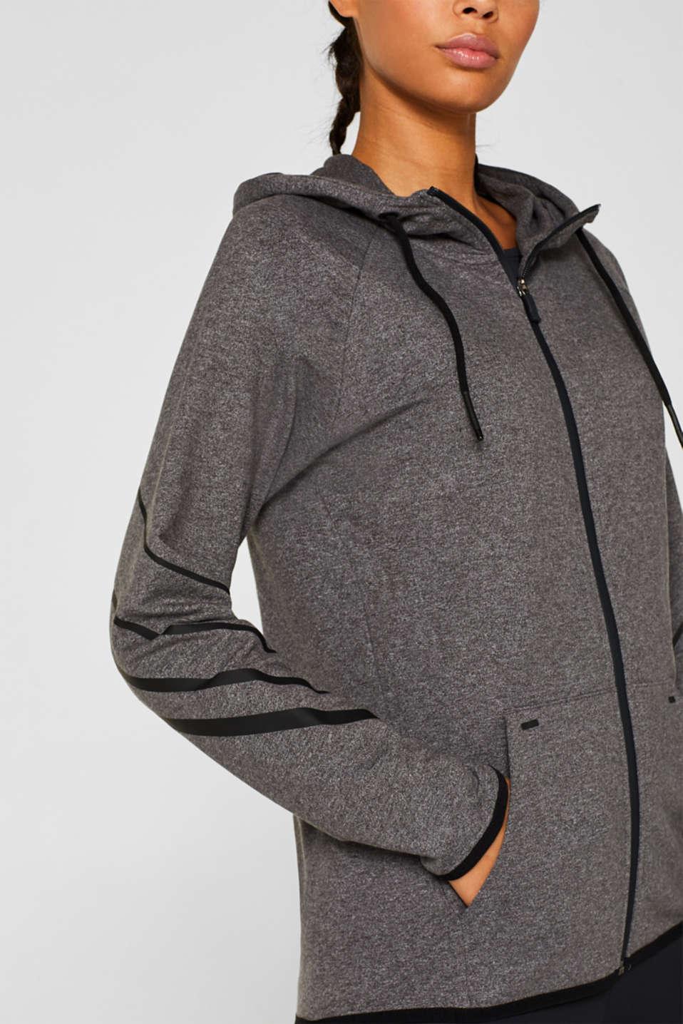 Hooded sweatshirt cardigan, ANTHRACITE 2, detail image number 1