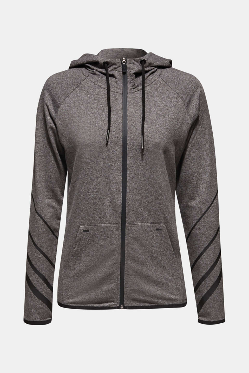 Hooded sweatshirt cardigan, ANTHRACITE 2, detail image number 5