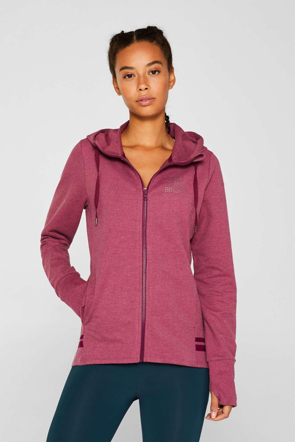 Hooded sweatshirt cardigan, PLUM RED 2, detail image number 0