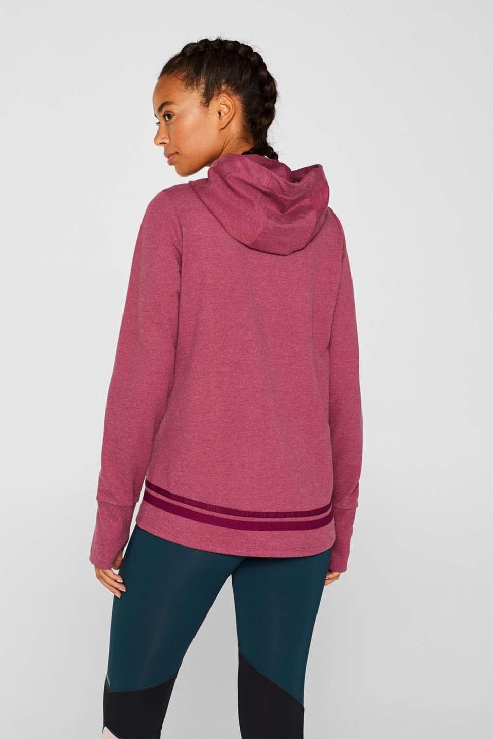 Hooded sweatshirt cardigan, PLUM RED 2, detail image number 3