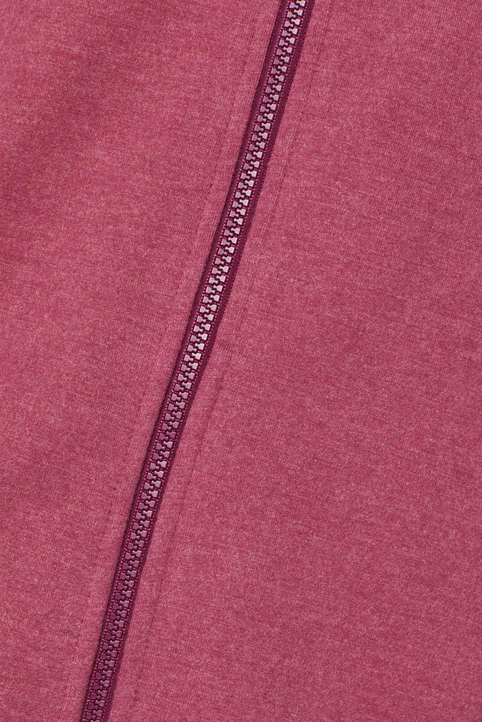 Hooded sweatshirt cardigan, PLUM RED 2, detail image number 4