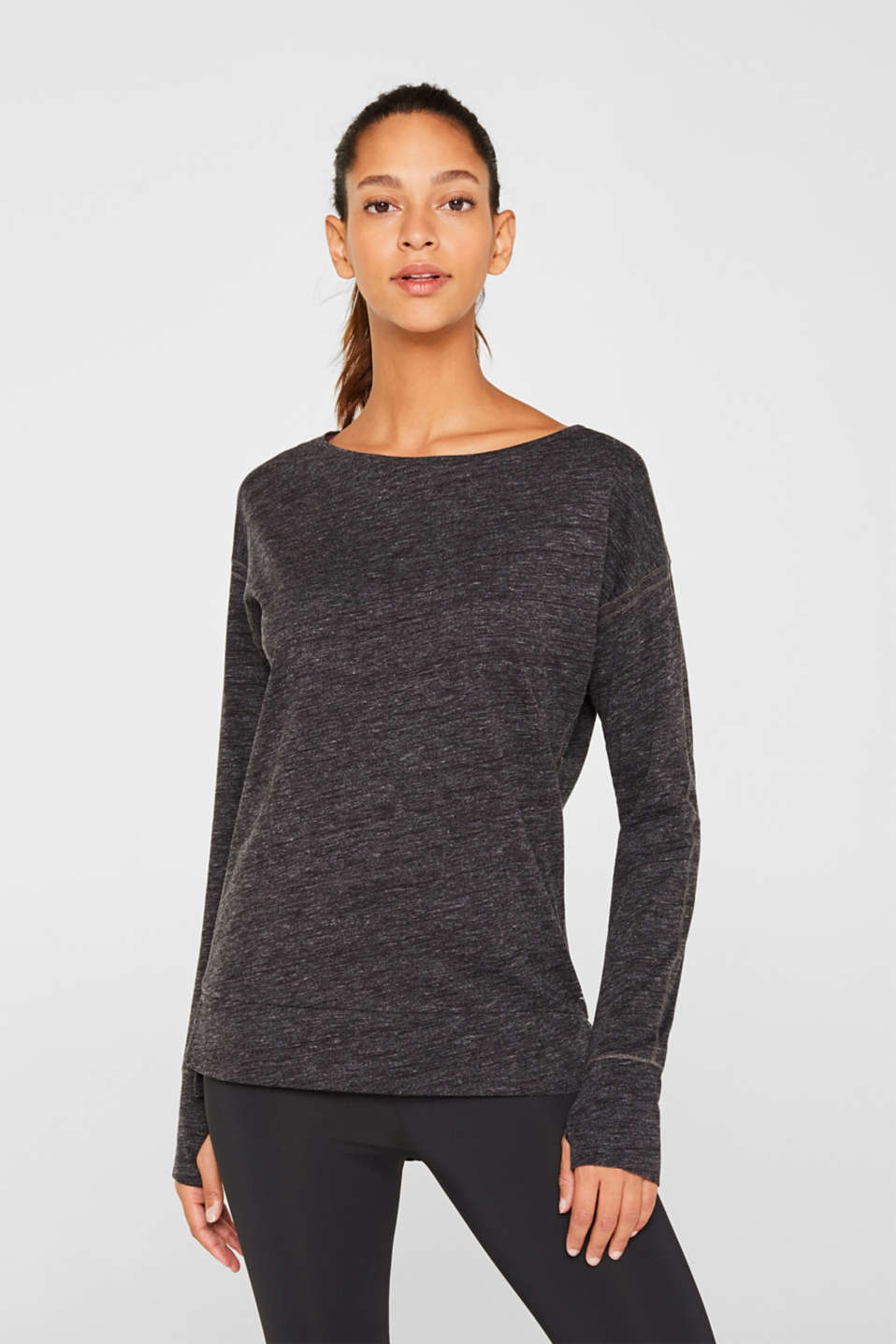 Esprit - Melange long sleeve top with decorative stitching