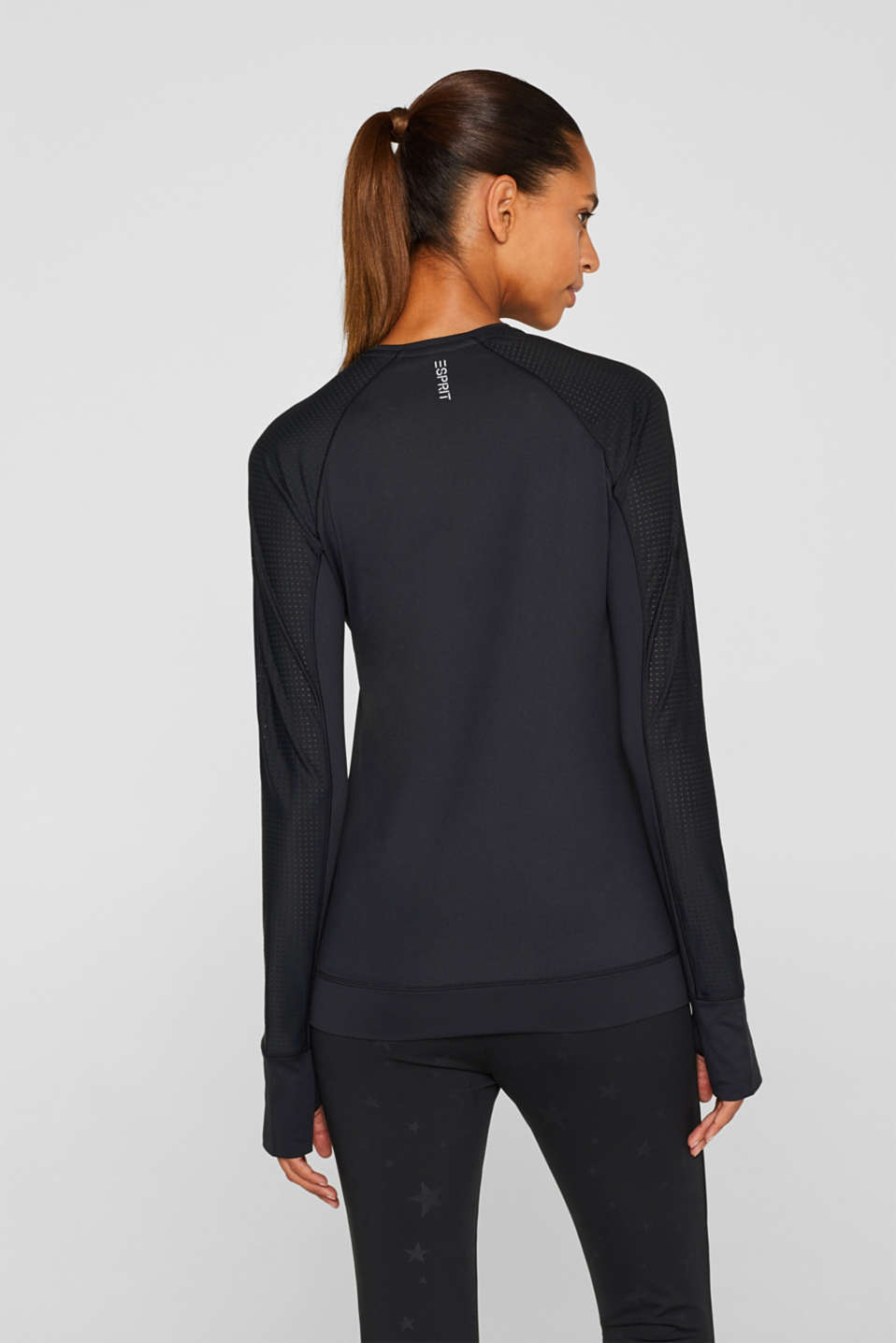 Stretchy long sleeve top with mesh sleeves, E-DRY, BLACK, detail image number 1