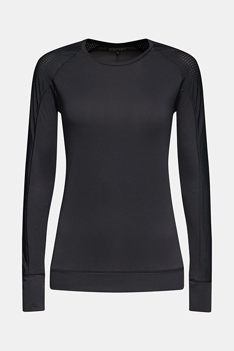 Stretchy long sleeve top with mesh sleeves, E-DRY